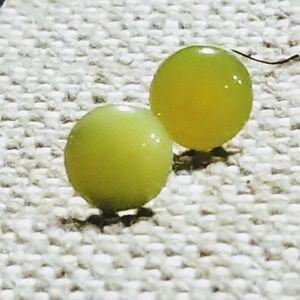 Jewelry - NEW Retro Neon Yellow Circle Stud Earrings